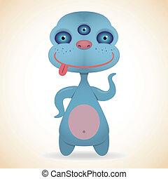 błękitny, potwór, three-eyed