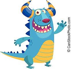 błękitny, potwór, waving., halloween, odizolowany, ilustracja, dragon., wektor, projektować, rogaty, portret, uśmiechanie się, rysunek