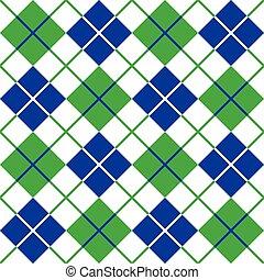błękitny, próbka, argyle, zielony