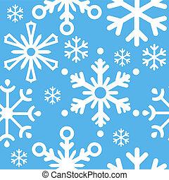 błękitny, próbka, płatki śniegu, boże narodzenie, seamless