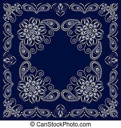 błękitny, próbka, paisley, biały, bandana-
