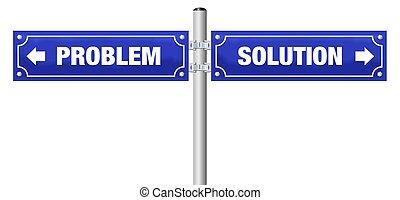 błękitny, problem, rozłączenie, znak, ulica