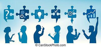 błękitny, profil, pojęcie, service., handlowy zaludniają, kolor, zagadka, rozwiązująca problematyka, rozłączenie, kawałki, symbolika, solution., team., klient, gesticulate., problem, strategia, success.