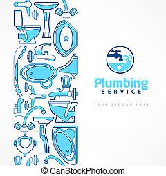 błękitny, projektować, chorągiew, instalacja wodociągowa, logo