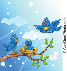 błękitny ptaszek, rodzina, śnieg