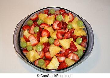 błękitny, puchar owocu, sałata