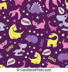 błękitny, różowy, ryk, girly, pattern., seamless, żółty, dinozaury, diplodocus, tyrannosaurus, stegozaur