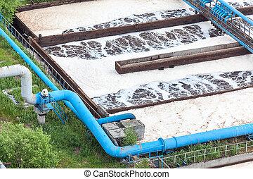 błękitny, roślina, przemysłowy, rurociągi, tlen, dostarczać, wietrzenie, woda