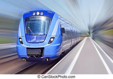 błękitny, ruch, pociąg