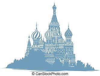 błękitny, rys, sylwetka, prawowierny, kolor, mono, landmarks., bazylia, ilustracja, moskwa, ruski, tło., styl, święty, curch., russia., katedra, biały, ręka, pociągnięty