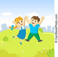błękitny, rysunek, ich, młody, skokowy, niebo, dziewczyna, dzieciaki, chłopiec, radość, powietrze, miasto, szczęśliwy, tło., siła robocza