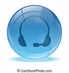 błękitny, słuchawki, abstrakcyjny, 3d, ikona