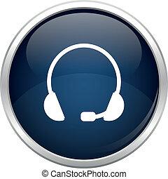 błękitny, słuchawki, ikona