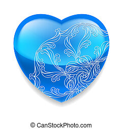 błękitny, serce, dekoracje, błyszczący