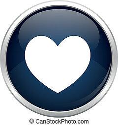 błękitny, serce, ikona