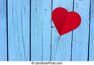 błękitny, serce, papier, drewno, stół, czerwony