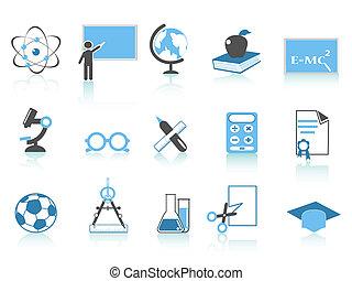 błękitny, seria, ikona, prosty, wykształcenie