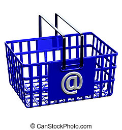 błękitny, @, shopping kosz, znak