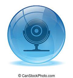 błękitny, sieć, abstrakcyjny, krzywka, 3d, ikona