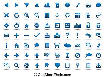 błękitny, sieć, komplet, nawigacja, ikony