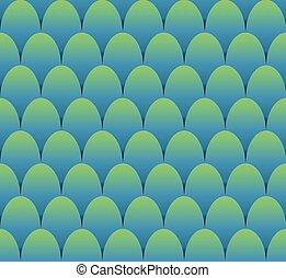 błękitny, skalpy, fish, seamless, zielone tło, projektować