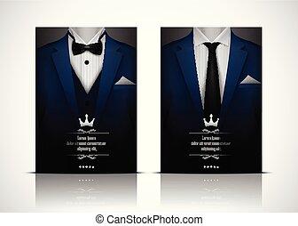 błękitny, smoking, garnitur, krawat, łuk
