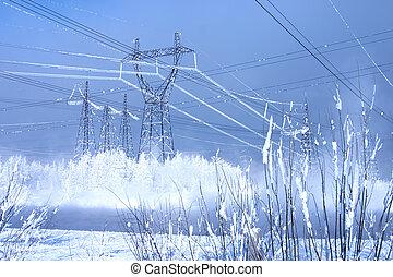 błękitny, snowdrifts, elektryczność, niebo, potężny, środowisko, tło, kreska, costing