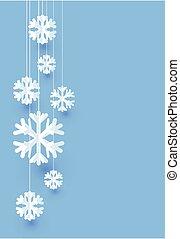 błękitny, snowflakes., papier, białe boże narodzenie, karta