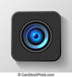 błękitny, soczewka aparatu fotograficzny, wektor, black., ikona
