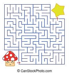 błękitny, sprytny, skwer, illustration., grzyb, labyrinth., prosty, interesujący, abstrakcyjny, star., odizolowany, płaski, rysunek, kolor, gra, wektor, tło., children., ścieżka, biały, znaleźć