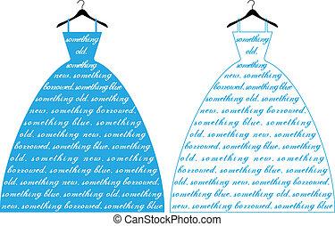 błękitny strój, wektor, ślub