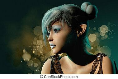 błękitny, sylph, cg, portret, 3d