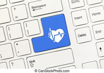 błękitny, symbol, healthcare, -, klucz, klawiatura, konceptualny, biały