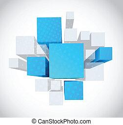 błękitny, szary, kostki, abstrakcyjny, tło, 3d