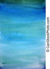 błękitny, sztuka, barwiony, lekki, ręka, akwarela, tło