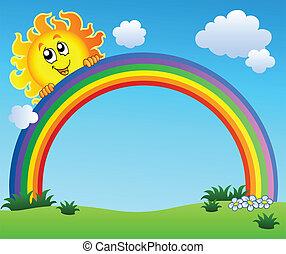błękitny, tęcza, niebo, dzierżawa, słońce