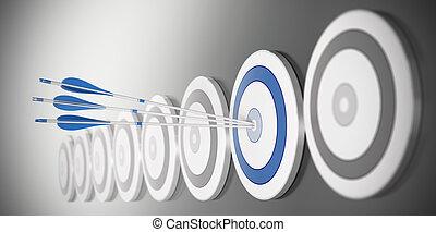 błękitny, tarcza, środek, dużo, tam, strzały, trzy, skutek, utrafiając, plama, tarcze, hałas