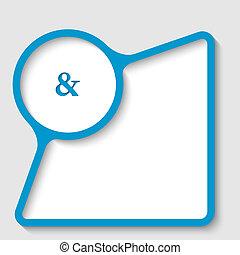 błękitny, tekst, ułożyć, ampersand, znak