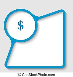 błękitny, tekst, ułożyć, dolar znaczą
