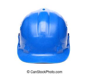 błękitny, twardy, odizolowany, tło, biały kapelusz