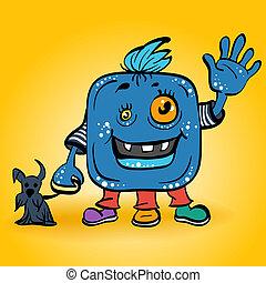 błękitny, uśmiechanie się, wektor, rysunek, potwór