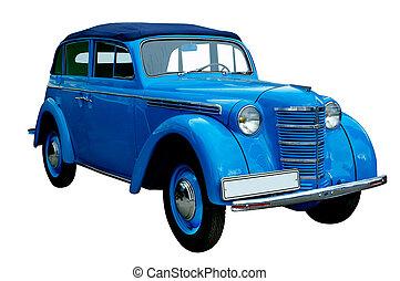 błękitny wóz, klasyk, retro, odizolowany