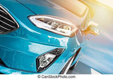 błękitny wóz, sport, zachód słońca, przód
