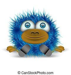 błękitny, włochaty, potwór