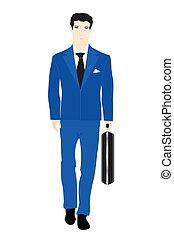 błękitny, waliza, mężczyźni, ilustracja, obrót, garnitur