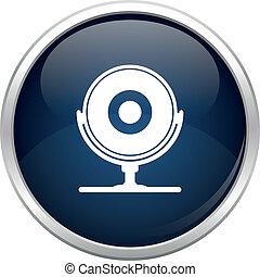błękitny, webcam, ikona