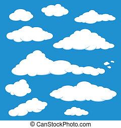 błękitny, wektor, chmura nieba