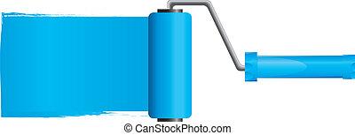 błękitny, wektor, ilustracja, malować, część, szczotka, malować, 2, wałek