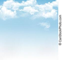 błękitny, wektor, niebo, tło, clouds.