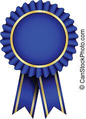 błękitny, wektor, odznaka, wstążka